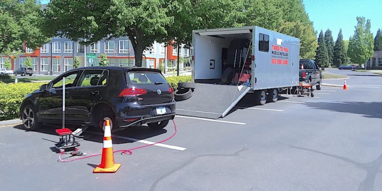 mobile fleet vehicle tire installation
